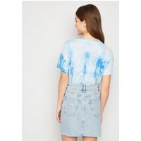 Girls Pale Blue Ripped Denim Mom Skirt New Look