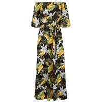 Mela Black Tropical Floral Maxi Dress New Look