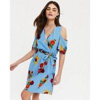 Mela Bright Blue Floral Cold Shoulder Dress New Look