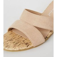 Pale Pink Suedette Cut Out Cork Wedge Mules New Look