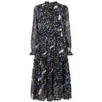 JDY Black Floral High Neck Chiffon Midi Dress New Look