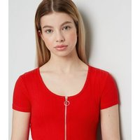 Girls Red Ribbed Zip T-Shirt New Look