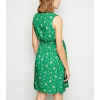 Maternity Green Floral Shirred Waist Dress New Look