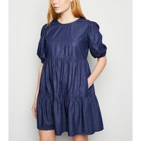 Blue Puff Sleeve Denim Smock Dress New Look