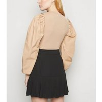 NA-KD Black Pleated Chiffon Mini Skirt New Look
