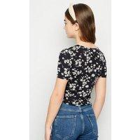 Girls Black Daisy Zip Top New Look