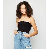 Girls Black Shirred Bandeau Top New Look