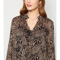 Maternity Brown Leopard Print Chiffon Midi Dress New Look