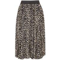 JDY Black Zebra Print Pleated Midi Skirt New Look
