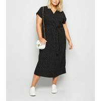 Curves Black Spot Button Up Midi Dress New Look