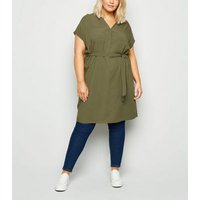 Curves Khaki Belted Tunic Dress New Look
