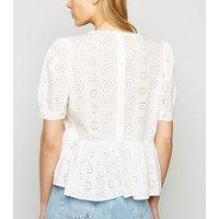 White Broderie Puff Sleeve Peplum Top New Look