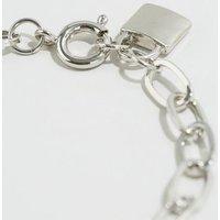 Silver Linked Chain Padlock Bracelet New Look