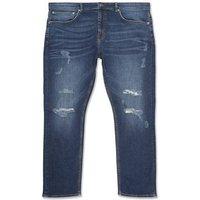 Men's Plus Size Indigo Ripped Slim Stretch Jeans New Look