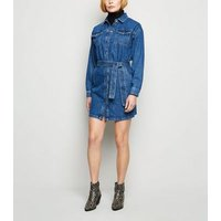 Blue Belted Denim Shirt Dress New Look