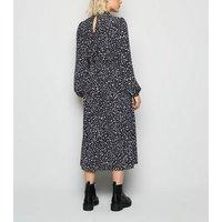 Petite Black Floral Frill High Neck Midi Dress New Look
