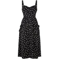 Petite Black Spot Bustier Midi Dress New Look