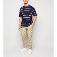Navy Contrast Stripe Slogan T-Shirt New Look