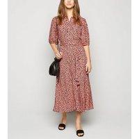 Petite Pink Leopard Print Puff Sleeve Midi Dress New Look