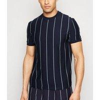 Navy Vertical Stripe Crew T-Shirt New Look