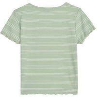 Girls Light Green Stripe Frill Trim T-Shirt New Look