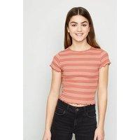 Girls Pink Stripe Frill Trim T-Shirt New Look