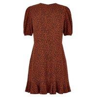 Petite Brown Leopard Print Mini Dress New Look