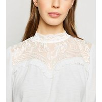 Off White Textured Embroidered Yoke Top New Look