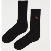 Black Embroidered Prawn Socks New Look