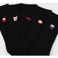 5 Pack Black Sushi Embroidered Socks New Look