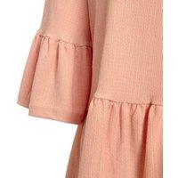 Pale Pink Textured Flutter Sleeve Peplum Top New Look