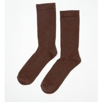 Mid Brown Ribbed Socks New Look