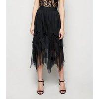 Black Mesh Hanky Hem Midi Skirt New Look