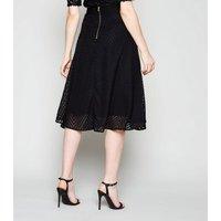 Black Chevron High Waist Midi Skirt New Look