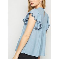Pale Blue Broderie Ruffle Sleeve Blouse New Look