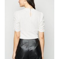 White Glitter Ruched Puff Sleeve Top New Look