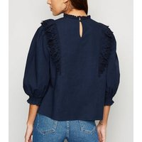 Navy Crochet Frill Trim Puff Sleeve Blouse New Look