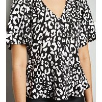 Black Leopard Print Peplum Blouse New Look