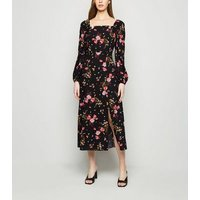 Black Floral Square Neck Long Sleeve Dress New Look