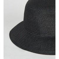Black Woven Straw Effect Bucket Hat New Look