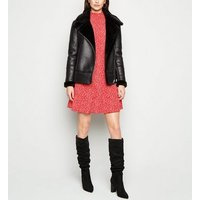Red Ditsy Floral Shirred Frill Dress New Look