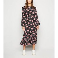 Black-Floral-Spot-Frill-Trim-Midi-Dress-New-Look