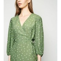 Green Spot Puff Sleeve Wrap Dress New Look