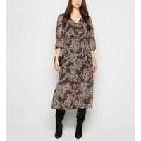 Black Floral Chiffon Midi Dress New Look