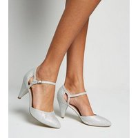 Wide Fit Silver Glitter Cone Heel Court Shoes New Look Vegan
