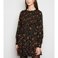 Influence Black Floral Shirred Smock Dress New Look