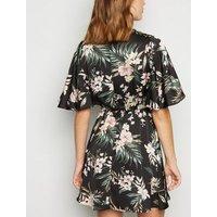 AX Paris Black Tropical Satin Flutter Sleeve Dress New Look