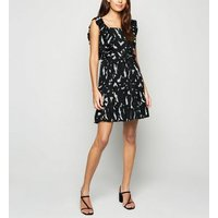 AX Paris Black Brushstroke Frill Dress New Look
