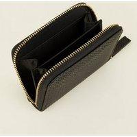 Black Faux Snake Zip Around Card Holder New Look