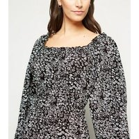 AX Paris Black Floral Square Neck Dress New Look